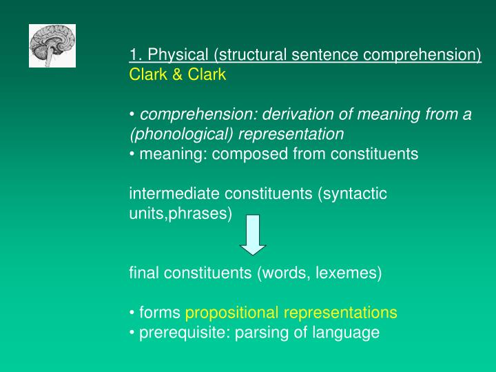 1. Physical (structural sentence comprehension)
