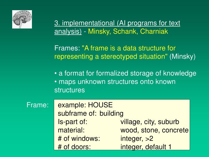 3. implementational (AI programs for text analysis)