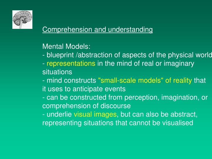 Comprehension and understanding