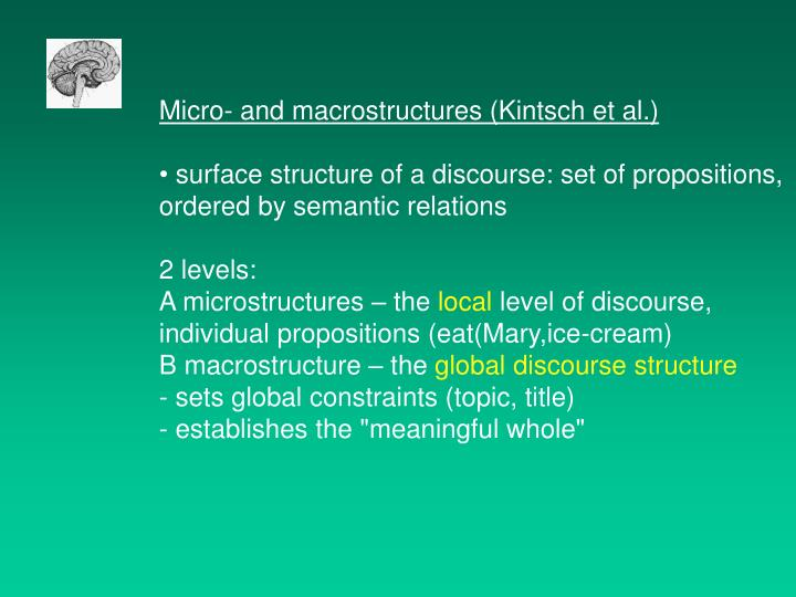 Micro- and macrostructures (Kintsch et al.)