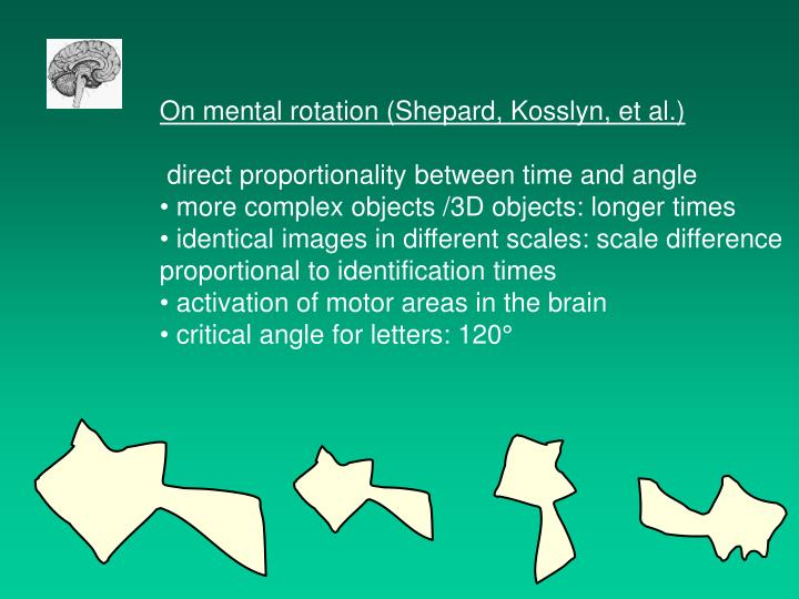 On mental rotation (Shepard, Kosslyn, et al.)