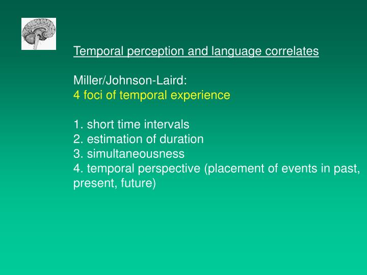 Temporal perception and language correlates