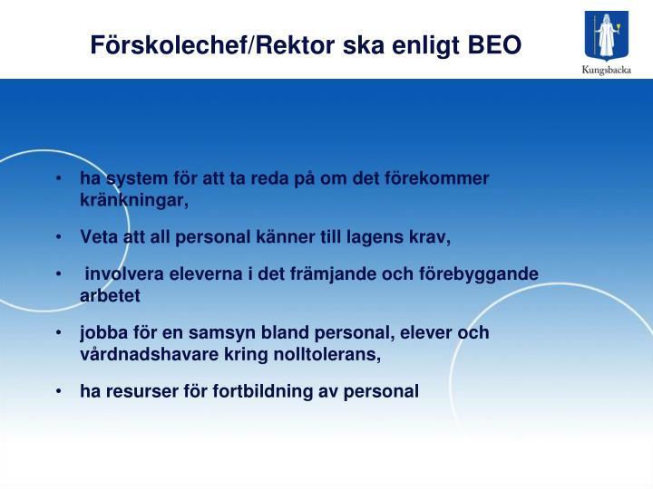 Förskolechef/Rektor ska enligt BEO