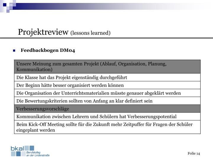 Feedbackbogen DM04