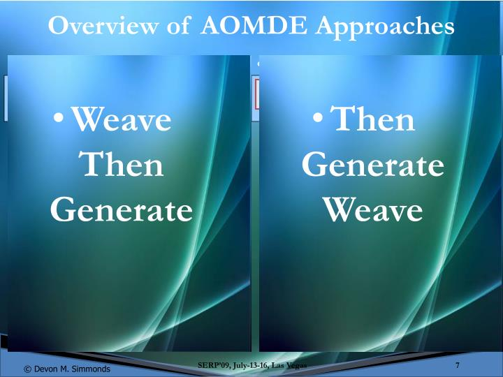 Overview of AOMDE Approaches