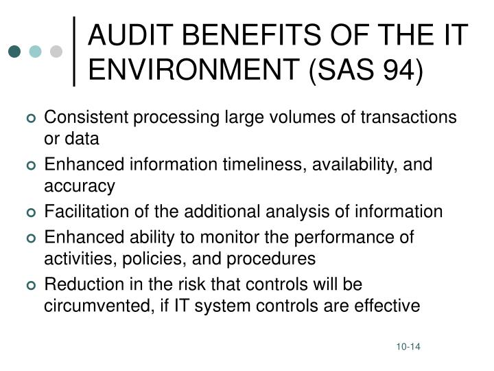 AUDIT BENEFITS OF THE IT ENVIRONMENT (SAS 94)
