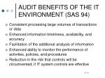 audit benefits of the it environment sas 94