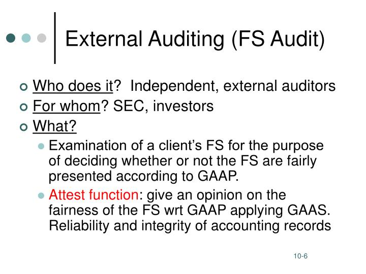 External Auditing (FS Audit)