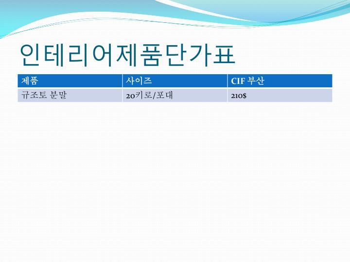 인테리어제품단가표