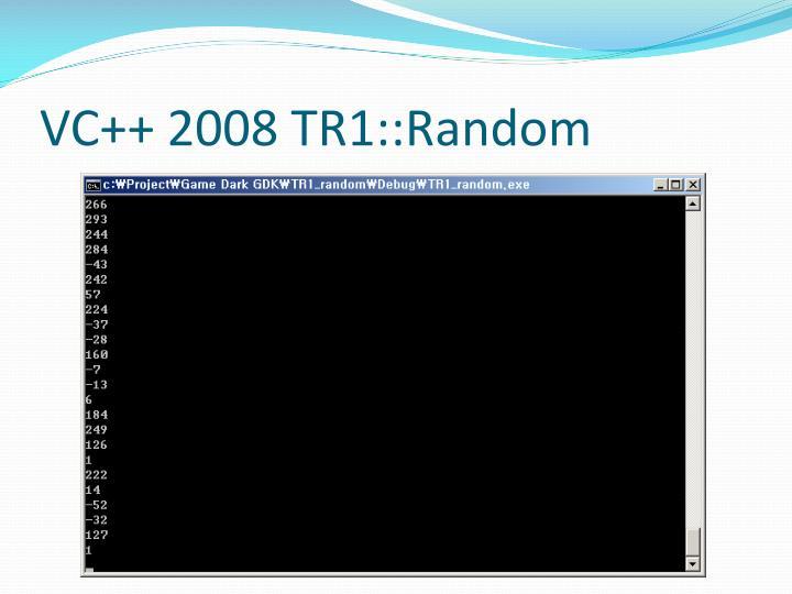 VC++ 2008 TR1::Random