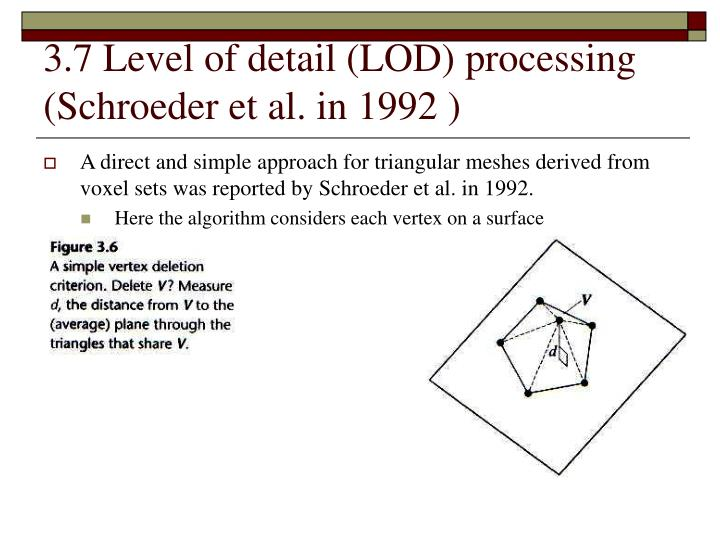 3.7 Level of detail (LOD) processing (Schroeder et al. in 1992 )