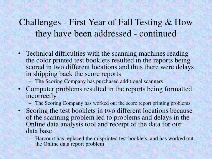 Challenges - First Year of Fall Testing & How they have been addressed - continued