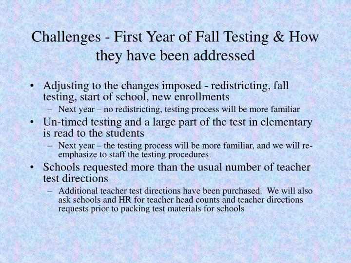 Challenges - First Year of Fall Testing & How they have been addressed