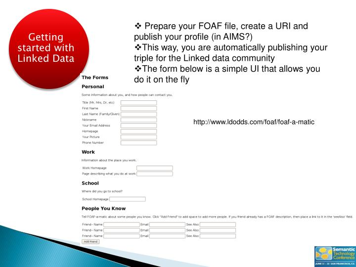Prepare your FOAF file, create a URI and publish your profile (in AIMS?)
