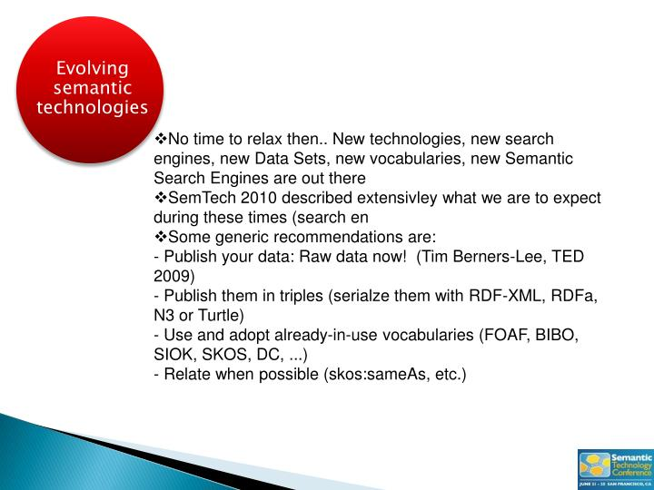 Evolving semantic technologies