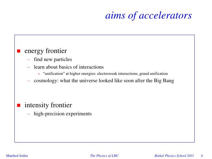 aims of accelerators