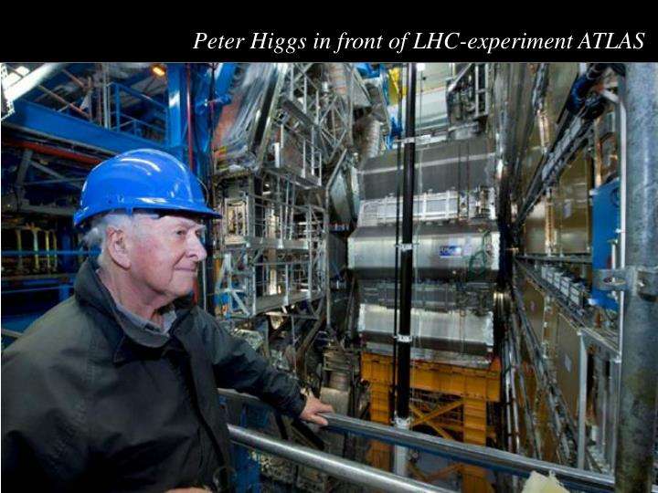 Peter Higgs in front of LHC-experiment ATLAS