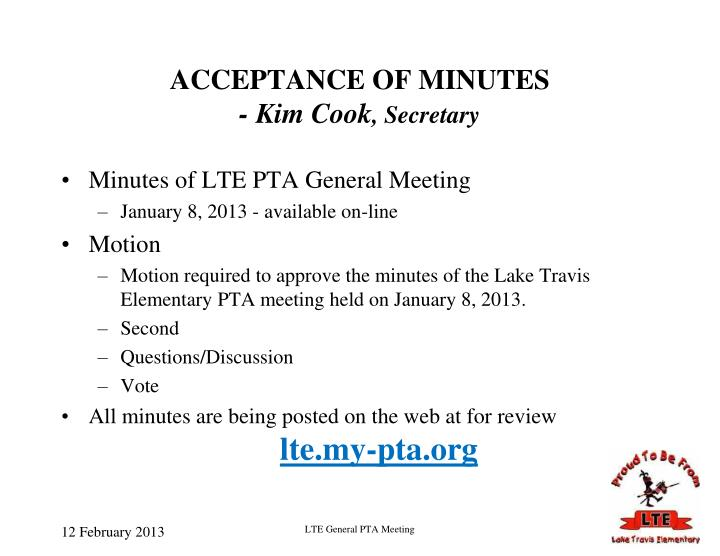 ACCEPTANCE OF MINUTES