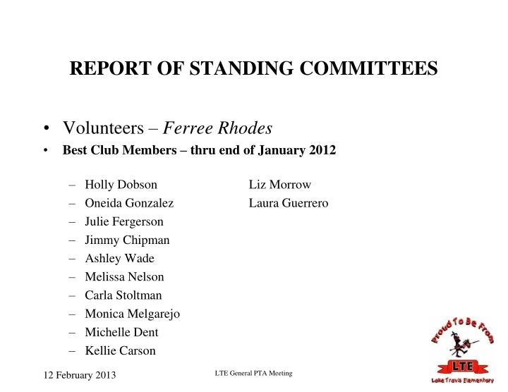 REPORT OF STANDING COMMITTEES
