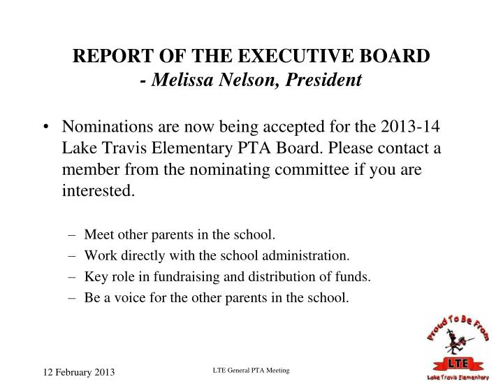REPORT OF THE EXECUTIVE BOARD