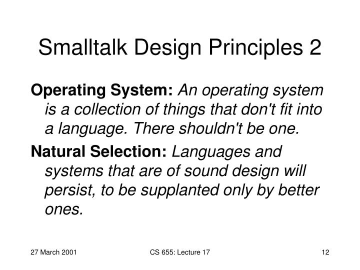 Smalltalk Design Principles 2