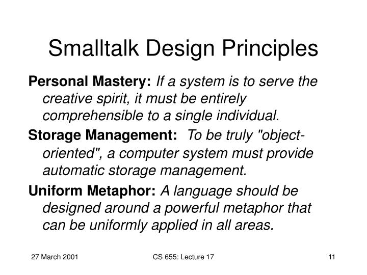 Smalltalk Design Principles