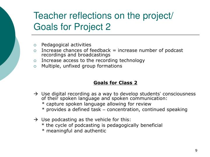 Teacher reflections on the project/