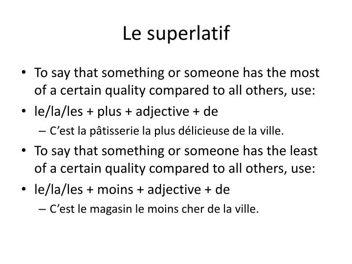 Le superlatif