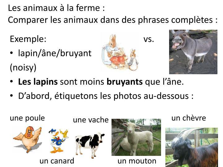 Les animaux à la ferme: