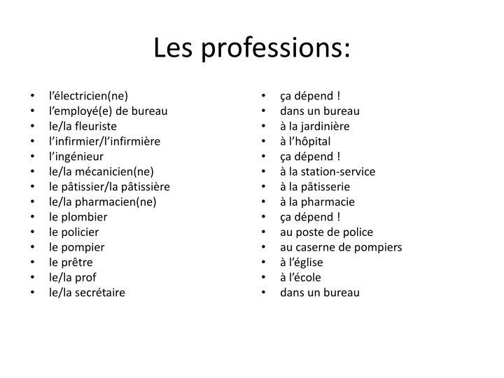 Les professions: