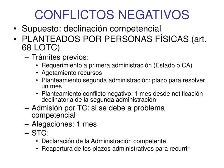 CONFLICTOS NEGATIVOS