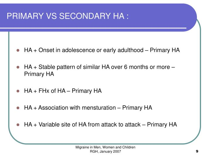 PRIMARY VS SECONDARY HA :