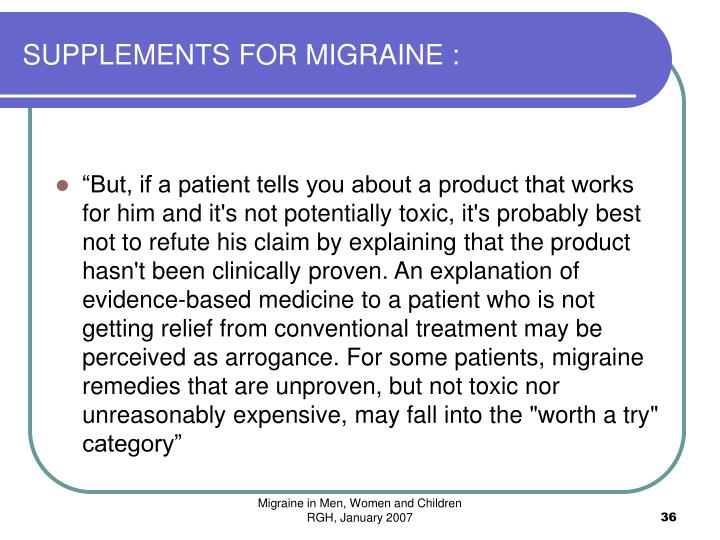 SUPPLEMENTS FOR MIGRAINE :