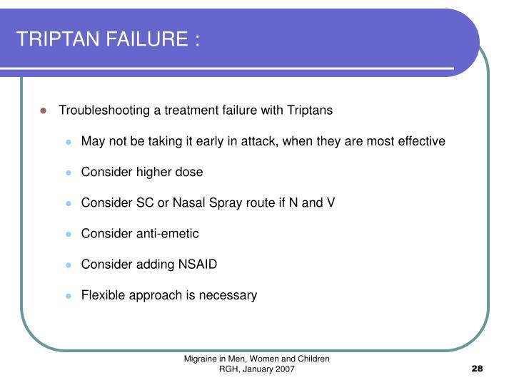 TRIPTAN FAILURE :