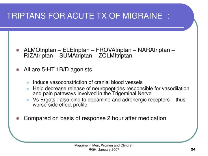 TRIPTANS FOR ACUTE TX OF MIGRAINE  :