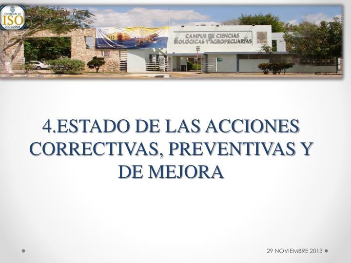 4.ESTADO DE LAS ACCIONES CORRECTIVAS, PREVENTIVAS Y DE MEJORA