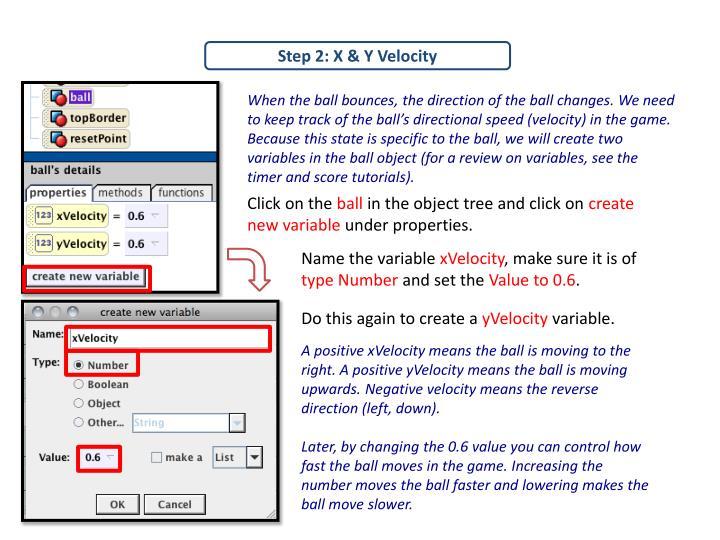 Step 2: X & Y Velocity