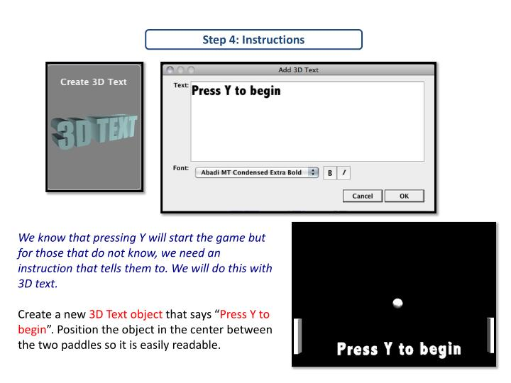 Step 4: Instructions