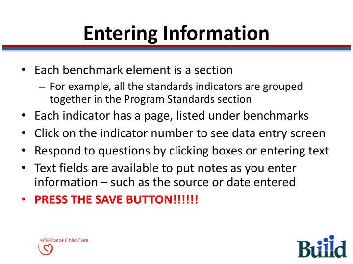Entering Information