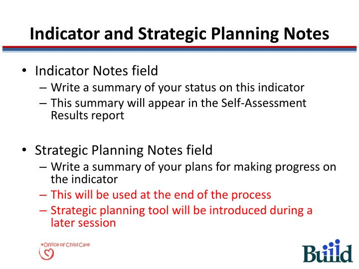 Indicator and Strategic Planning Notes