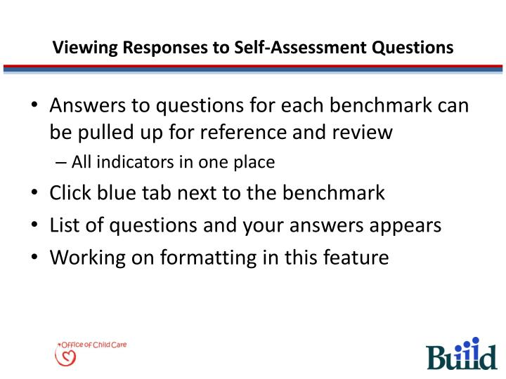 Viewing Responses to Self-Assessment Questions