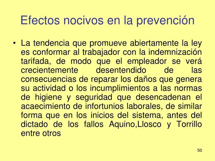 Efectos nocivos en la prevención