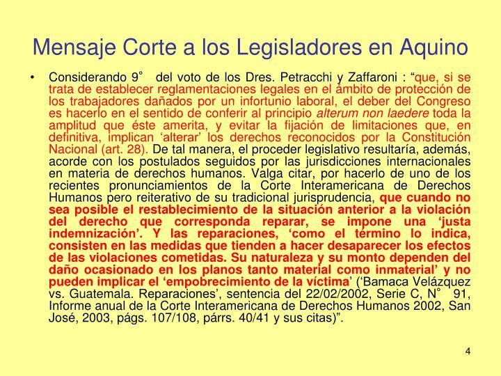 Mensaje Corte a los Legisladores en Aquino