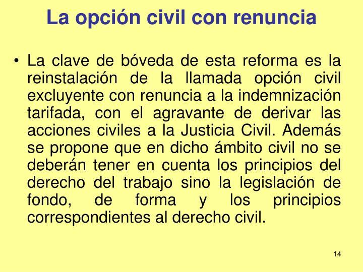 La opción civil con renuncia