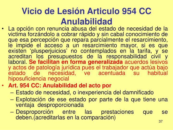 Vicio de Lesión Articulo 954 CC