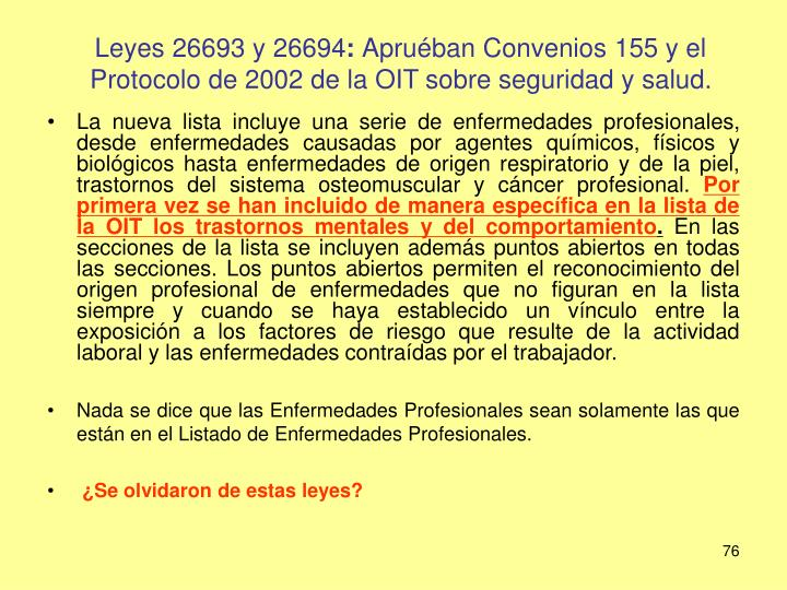 Leyes 26693 y 26694