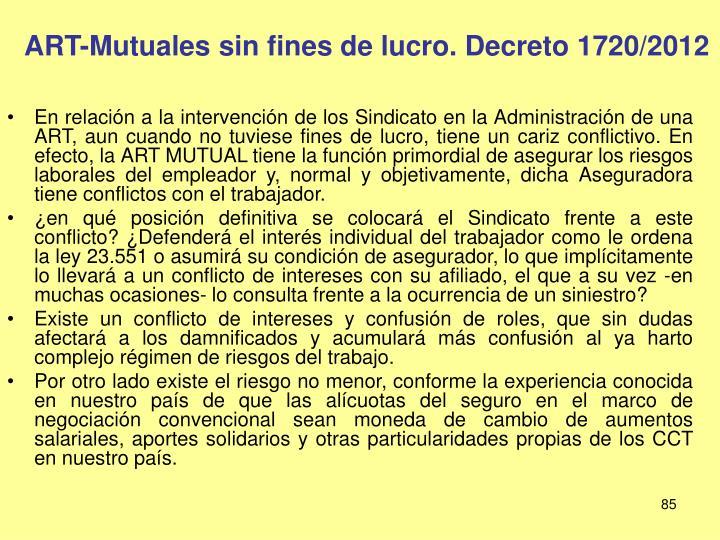 ART-Mutuales sin fines de lucro. Decreto 1720/2012