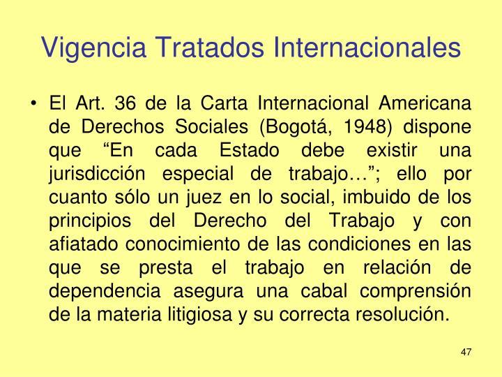 Vigencia Tratados Internacionales