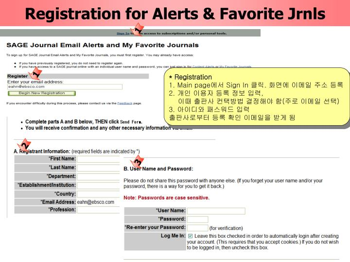 Registration for Alerts & Favorite Jrnls
