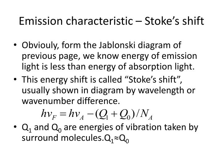 Emission characteristic – Stoke's shift